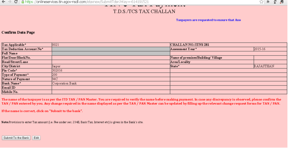 Step 4 - How to pay TDS/TC online