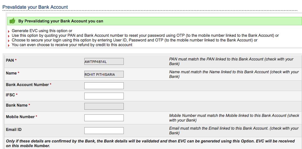 Pre-validate Bank Account on Income Tax e-Filing Portal